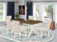 7-Pc Dining Set- 6 Chairs - Table Top & Wooden Cross Legs - 1