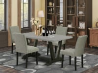 5-Pc Dinette Set - 4 Chairs & 1 Black table with High Chair Back - Linen White - 1