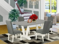 5-Pc Dinette Set - 4 Chairs & 1 Cement Table with High Chair Back - Linen White - 1