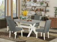 5-Pc Dining Set-4 Chairs & 1 Table Top with High Chair Back-Linen White - 1