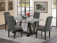 5-Pc Dinette Set - 4 Chairs & 1 Cement Table with High Chair Back - Black - 1