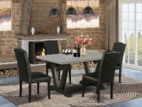 5-Pc Dining Set - 4 Chairs & 1 Cement Table with High Chair Back � Black - 1