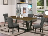 East West Furniture V-Style 5-piece Wood Dining Set in Black/Gotham Gray - 1