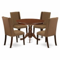 5-Piece Dining set- 4 Chairs & round table -High back & Mahogany - 1