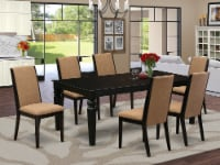 7-Piece dining set- 6 Chairs & Table solid wood structure -High back & Black - 1