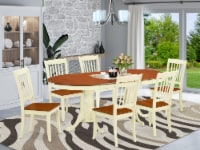 PVDA7-BMK-W 7PC Oval 60/78 inch Table with 18  Leaf & 6 vertical slatted Chairs - 1