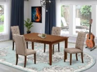 5-Piece Dining set-4 Chairs & A small Table hardwood frame-High back & Mahogany - 1