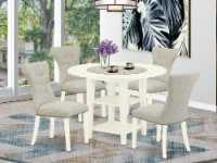 5Pc Table Set- 4 Chairs & Kitchen Drops Leaf Table - Linen White - 1