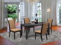 5-Piece Dining set-4 Chairs & small Table hardwood structure -High back & Black - 1