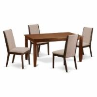 5-Piece small Table set- 4 Chairs & Table hardwood frame -High back & Mahogany - 1