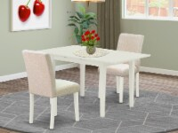 3-Piece Dining Set - 2 Kitchen Chairs and Dining Table - Linen White - 1