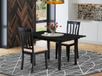 3-Pc Wood Dining Table Set 2 Wood Dining Chairs and Kitchen Table - Black - 1