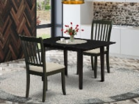 NODA3-BLK-C 3-Pc Kitchen Table Set 2 Wood Dining Chair and Dining Table - Black - 1