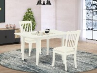 3-Piece Dinette Set 2 Dining Chairs & Kitchen Dining Table - Linen White - 1