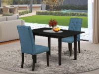 3-Pc Dining Table Set - Nail Head Parson Dining Chairs and Dinner Table - Black - 1