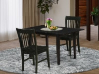 3-Pc Dining Set 2 Dining Chairs - Kitchen Table - Black - 1