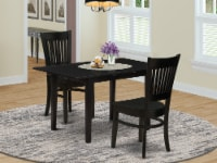 NOVA3-BLK-W 3-Piece Dining Table Set 2 Chairs and Dining Table - Black - 1