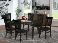 WEVA7-BLK-W 7-Piece Kitchen Dining Table Set 6 Chairs and Dinner Table - Black - 1