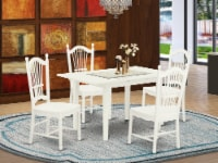 NODO5-LWH-W 5-Piece kitchen table set 4 Chairs and Dining table - Linen White - 1