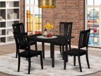NODU5-BLK-W 5-Piece Dinette Set 4 Dining Chairs and Small Table - Black - 1
