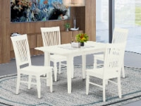 NOWE5-WHI-W 5-Piece Dinette Set 4 Chairs and Kitchen Dining Table - Linen White - 1