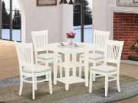SUVA5-LWH-C 5-Pc Round Dinette Set 4 Chairs & Table with Round Top- Linen White - 1