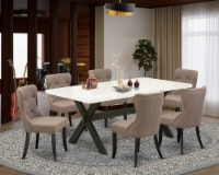 East West Furniture X-Style 7-piece Wood Dining Set in Wire Brushed Black - 1