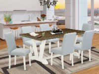 7-Pc kitchen Table set Includes 6 Chairs and a Kitchen Table - Linen White - 1