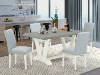 5-Pc Table Set Includes 4 Chairs and a Rectangular Kitchen Table - Linen White - 1