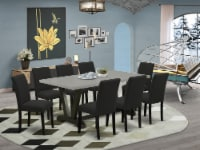 9-Piece Kitchen Table Set Includes 8 Chairs and a Table - Black - 1