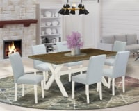 7-Piece Kitchen Table Set Includes 6 Chairs and a Table - Linen White - 1