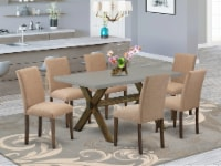 East-West Furniture 7-Pc Table set Includes 6 Chairs & a Table - Jacobean - 1
