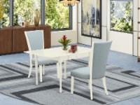 A dinette set of two indoor Chairs with Baby Blue, & a drop leaf  table - 1