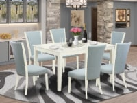 Set Of 6 Chairs With Linen Fabric Baby Blue Color & A Table With Linen White - 1