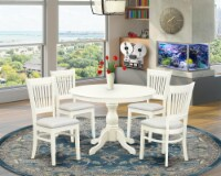 HBVA5-LWH-C - 5-Piece Dining Table Set- 4 Chairs and Breakfast Table Linen White - 1