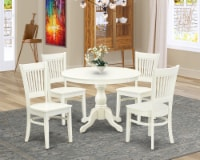 HBVA5-LWH-W - 5-Pc Kitchen Table Set- 4 Chairs and Round Table Linen White - 1