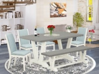 6-Piece Table Set Table Top & Indoor Bench & 4 Linen Fabric Chairs,Linen White - 1