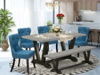6-Pc Kitchen & Dining Set- 4 Chairs-Top & Wooden Legs Table & Bench-& Black - 1