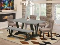 6-Piece Dining Set- 4 Chairs-Top & Wooden Legs table & Dining Bench-& Black - 1