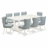East West Furniture V-Style 9-piece Wood Dining Set in Linen White/Baby Blue - 1