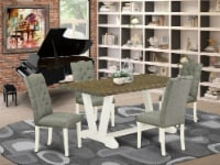5-Piece Dining Set- 4 Chairs - Table Top & Wooden Legs - Linen White - 1