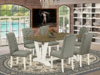 V076EL207-7 7-Pc Table Set- 6 Dining Padded Chairs - Table Top & Wooden Legs - 1