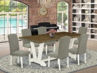 7-Piece Dining Set Table Top & 6 Wonderful Linen Fabric Chairs, Linen White - 1