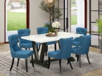 V626SI121-7 7-Pc Dining Set- 6 Chairs - Table Top & Wooden Legs - 1
