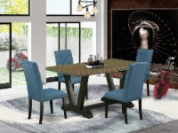 5-Piece Jacobean Table Top & 4 Linen Fabric Chairs , Black - 1