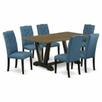 V676EL121-7 7-Piece Dining Set Jacobean Table Top & 6 Linen Fabric Chairs ,Black - 1