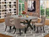 X696SI648-7 7-Piece Dining Set- 6 Chairs-Table Top & Wooden Cross Legs-& Black - 1