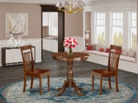 3-Pc Modern Dining Table Set - 2 Kitchen Chairs and 1 Table (Mahogany) - 1