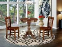 3-Pc Table Set - 2 Wooden Dining Chairs and 1 Kitchen Dining Table (Mahogany) - 1