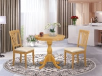 3-Pc Table Set - 2 Dining Room Chairs and 1 Kitchen Dining Table (Oak) - 1